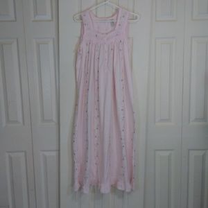 Adonna Pink With Embrodered Flowers Nighty